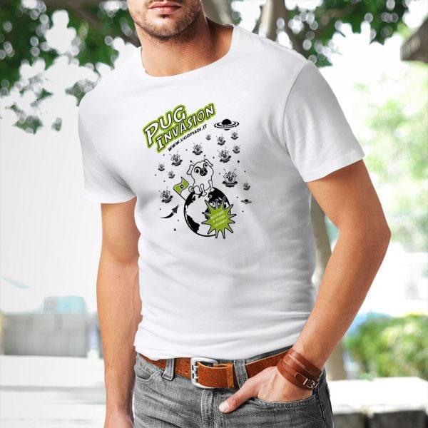 T-shirt cane carlino Pug Invasion - Ugopiadi