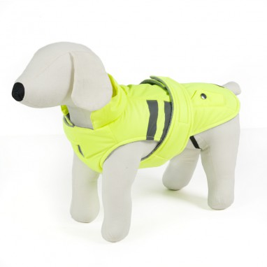 Piumino per cani fluo